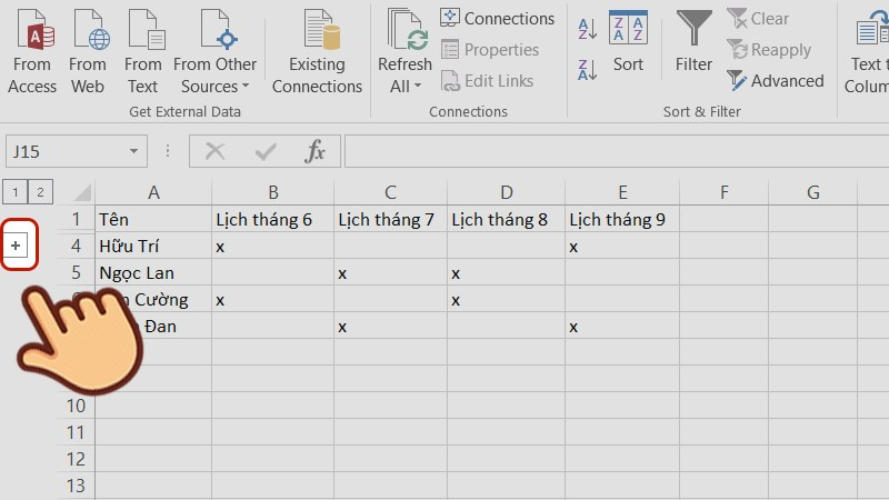 Cách Group trong Excel